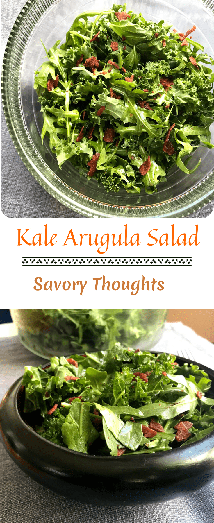 Healthy Kale Arugula Salad (recipe) topped with turkey bacon apple cider vinaigrette. Savory Thoughts. #kale #arugula #salad #kalearugulasalad