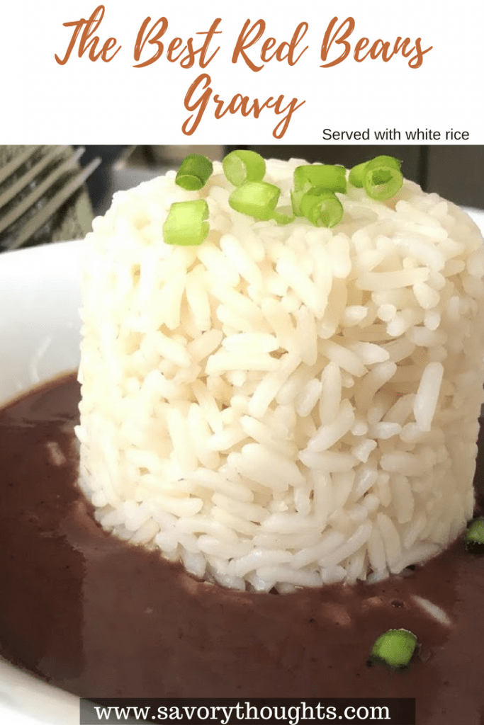 The Best Red Beans Gravy served with white rice recipe. Red Beans Gravy made with garlic, rosemary, and a few other spices. Also known as Sos Praw Rouj. The Best Red Beans Gravy recipe.