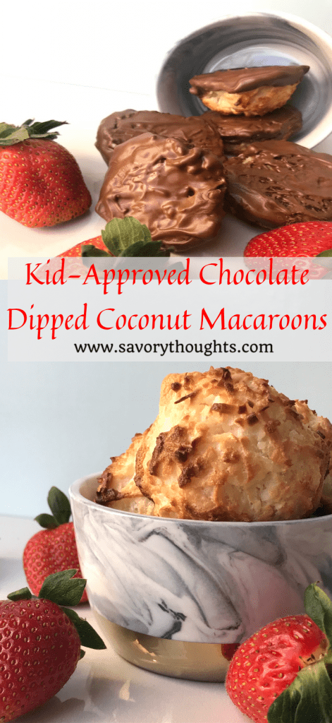Coconut Macaroons - Ridiculously addictive but yet decadent, kid friendly and approved Coconut Macaroons. These cookies will you coming back for more and is perfect for any occasion! Savory Thoughts. #coconutmacaroons #coconut #macaroons #chocolate #recipes