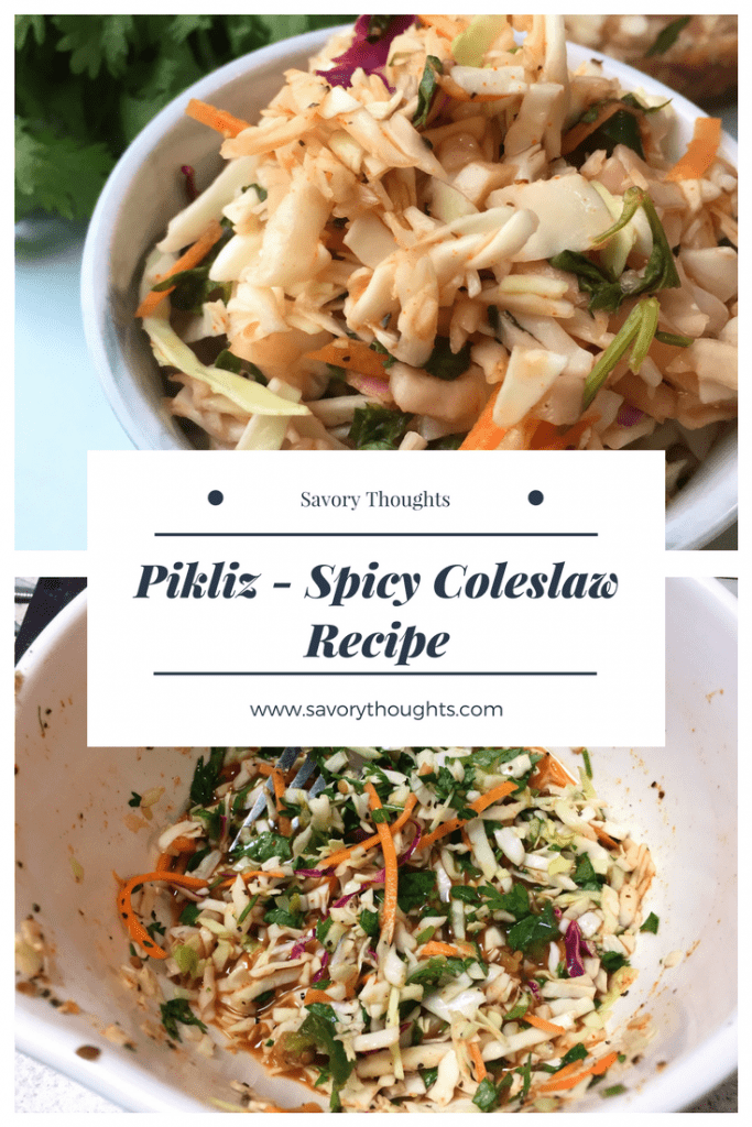 A Haitian's favorite condiment when it comes to fried food. Aside from fried food, Pikliz - Spicy Coleslaw is served with other dishes such as red beans and rice, fish, and pork. Savory Thoughts | #pikliz # condiment #coleslaw # piklizspicycoleslaw #recipe #spicy #sidedish