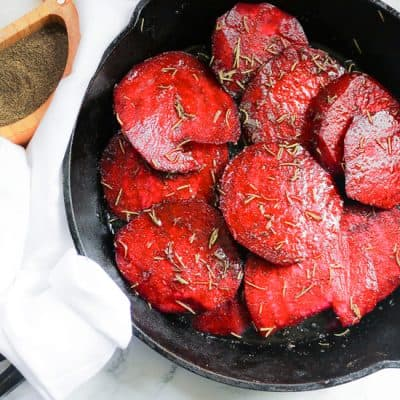 oven roasted beets in a skillet with olive oil, dried rosemary, salt and pepper
