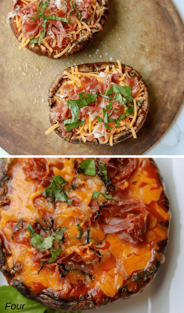 Portobello Mushroom Pizza With Prosciutto! Easy and delicious mushroom pizza that's keto proof, 30-minute proof, low carb, and made quickly with a few ingredients. #portobellomushroompizza #mushroompizza #prosciuttopizza #prosciutto #weeknightmeals #weeknightdinner #pizza #portobellopizza