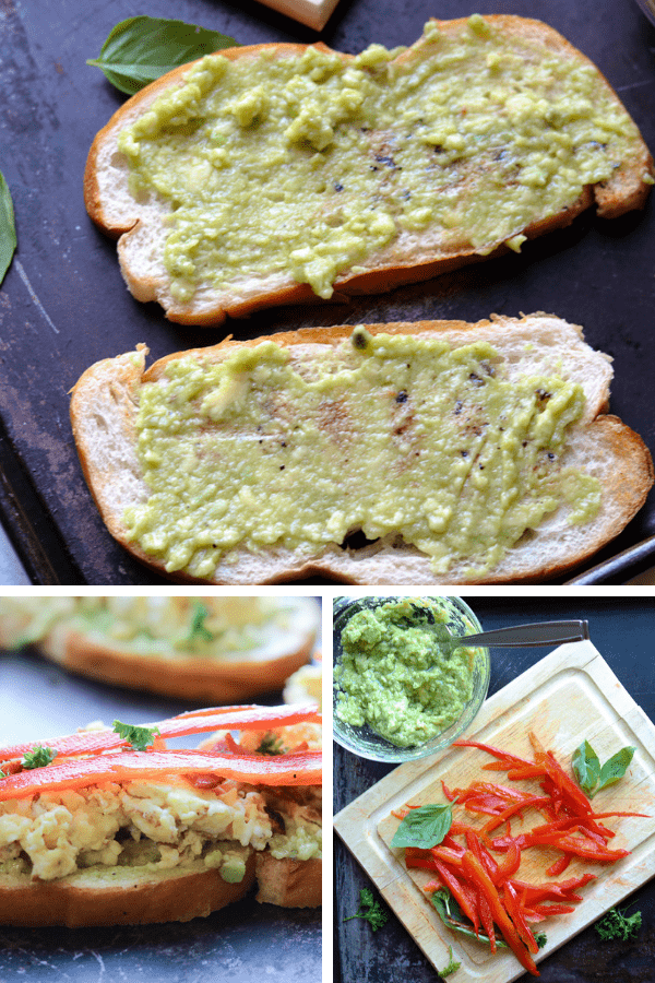 Easy Breakfast Bruschetta - Toasted bread topped with guacamole, eggs, and turkey bacon. This breakfast bruschetta recipe is not only easy to make but is also a great way to mix up an ordinary breakfast. #breakfast #bruschetta #breakfastbruschetta #brunch #healthy #avocado #recipe #appetizers #breads #lunches #snacks #mornings