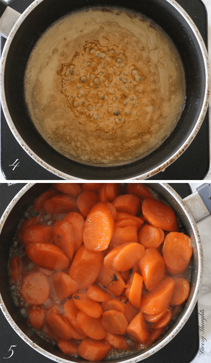 Glazed-Carrots-Savory-Thoughs-step-by-step-are an easy simple elegant side dish to prepare for any occasion. These carrots are simmered in a mixture of orange juice, brown sugar, salt, and butter. #glazedcarrots #carrots #brownsugarglazedcarrots