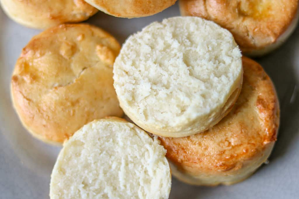 How to make gluten-free biscuits - Gluten-free biscuits made completely from scratch, buttery, soft, and gluten-free. This recipe is made with all butter and no xanthan gum!