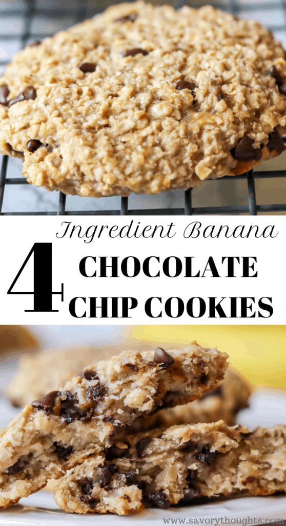 Banana Chocolate Chip Oatmeal Cookies with just 4 ingredients, no additional sugar added. Ready in 15 minutes. These banana chocolate chip cookies are also gluten-free
