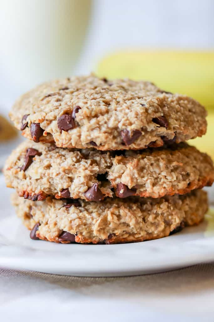 Soft Banana Chocolate Chip Cookies made with only contain only 4 ingredients. They are also gluten-free!