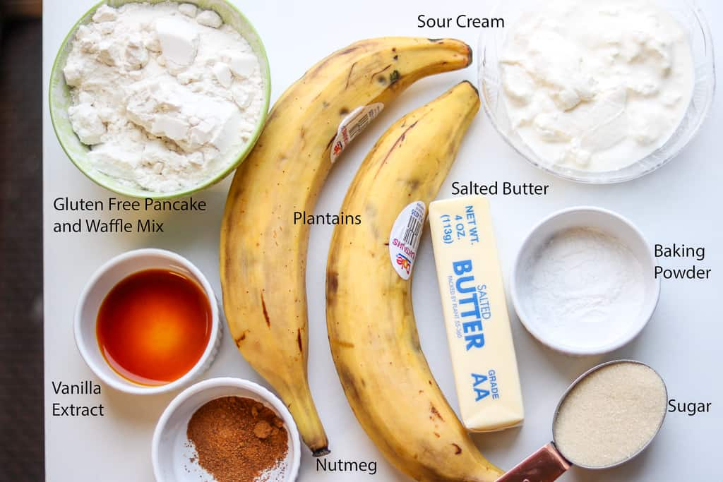 Plantain Bread - Plantain Cake - Ingredients for Plantain Bread. Savory Thoughts.