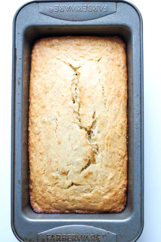 Plantain Bread - Plantain Cake in loaf plan - Savory Thoughts.