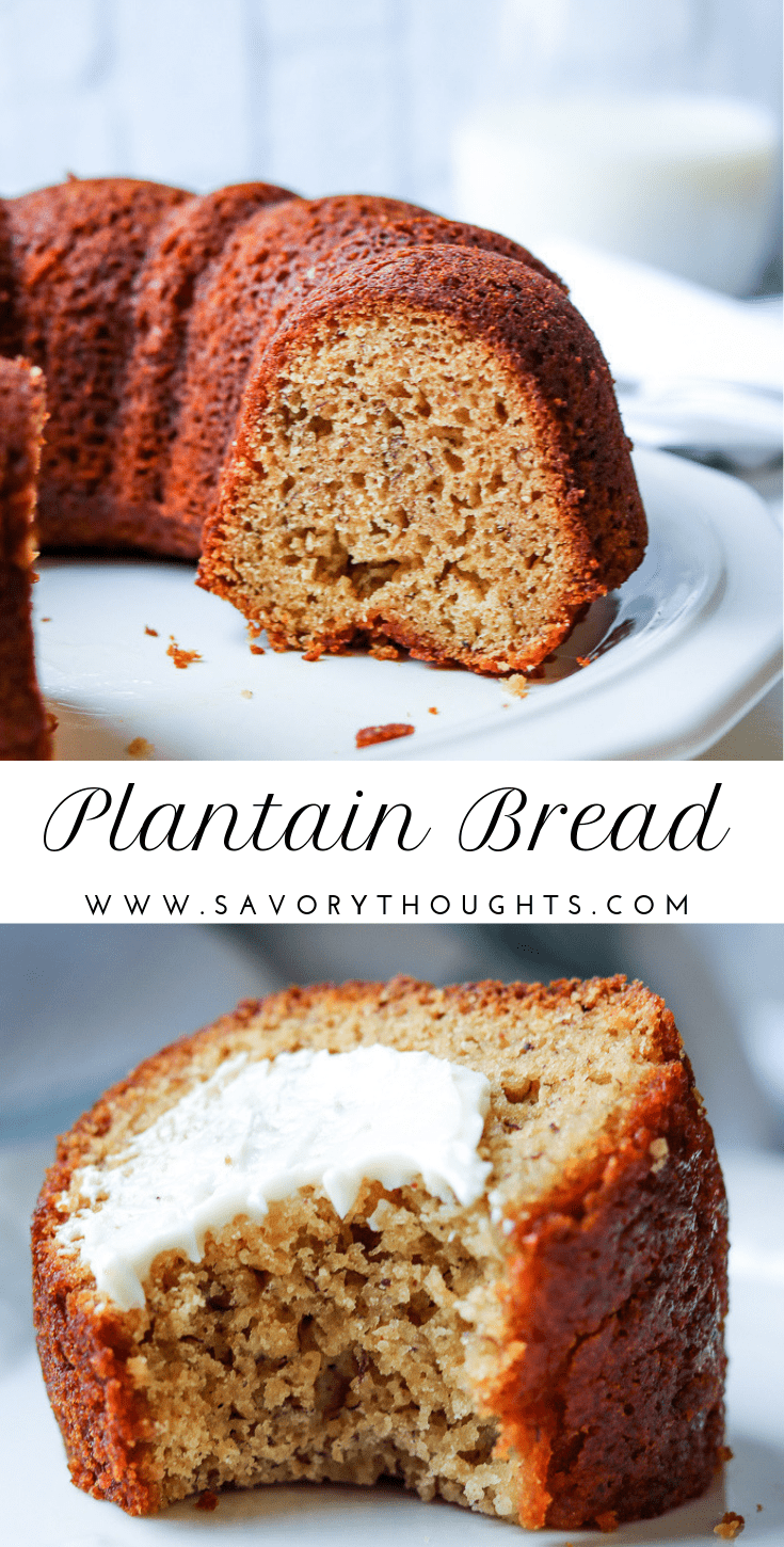 Plantain Bread - Plantain Cake - Savory Thoughts. If you are not familiar with plantain bread (plantain cake), you are in for a treat. This bread is gluten-free, delicious, and is a perfect alternative to banana bread and a great way to use your ripe plantains. It is great for breakfast. #plantainbread #plantaincake #plantainbreadpaleo #plantainbreadrecipes #Plantaintainbreadaip #plantainbreadglutenfree
