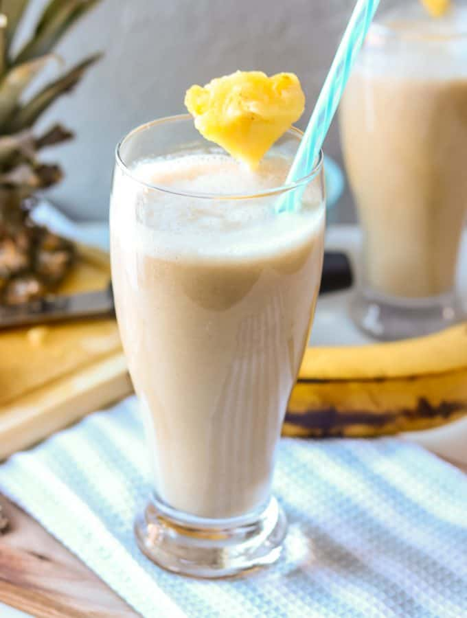 Easy Breezy Healthy Pineapple Banana Smoothie. Smoothies are always a healthy choice and are perfect year-around. This smoothie is a perfect blend of pineapple and banana mixed with almond milk. It works well with other fruits and vegetables. No sugar added. It is so refreshing, especially if strawberries are added to make a healthy pineapple banana strawberry smoothie. The possibilities are endless!