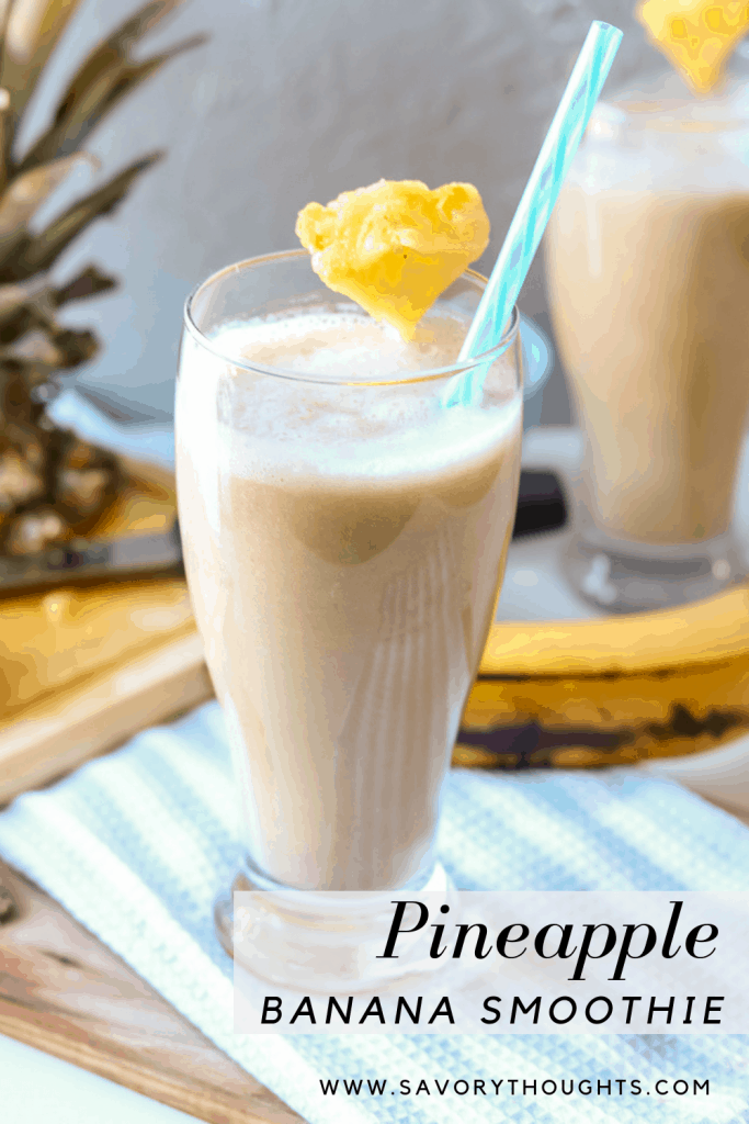 Easy Breezy Healthy Pineapple Banana Smoothie. Perfect year-around tropical drink. A great blend of pineapple and banana mixed with almond milk. Works well with other fruits and vegetables. No sugar added. It is so refreshing, especially if strawberries are added to make a healthy pineapple banana strawberry smoothie. The possibilities are endless!