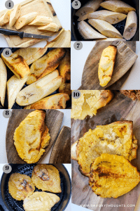 Healthy and easy Haitian Air Fryer Plantains recipe. If you love fried foods, and more importantly, fried plantains, then you'll fall in love with these air fried green plantains. They are the easiest, healthiest, and most addictive homemade snack you'll want to make over and over again. Fried plantains calories are extremely low and most often don't require oil when making them in the air fryer. They serve well as healthy appetizers. Haitian fried plantains are usually fried twice, so I have taken the liberty in following the same steps while providing a healthier way to fry these little babies. whether you are making fried plantains that are sweet or just learning how to make sweet fried plantains, the method is extremely easy, and you are minutes away from enjoying a healthy homemade snack. These Fried plantains are healthy, gluten-free, Whole30 compliant, and paleo friendly.