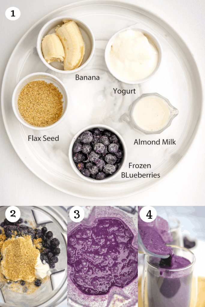 Ingredients for Blueberry Smoothie With Almond Milk. Step by Step pictures on how to make blueberry smoothie recipe with banana.