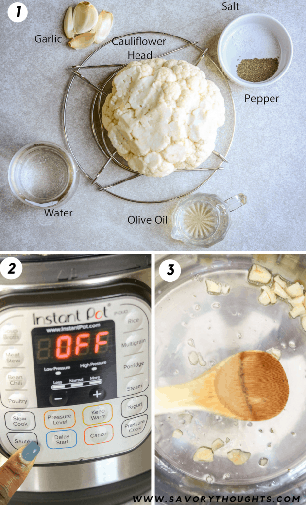 Learn how to make cauliflower mash. Step by step photo guides to show to make mashed cauliflower. First picture is a list of ingredients, the second picture is a picture of Instant Pot, the first picture is sautéed garlic.