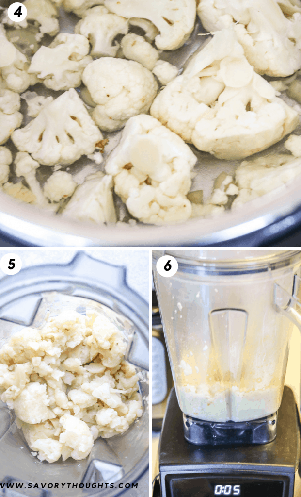 Cook Instant Pot Cauliflower instantly. the first picture reflects cauliflower florets. The second picture reflect cauliflower in the vitamix, and the third picture is cauliflower puree.