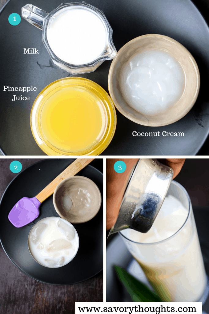 Ingredients to make Pina Colada Cocktail