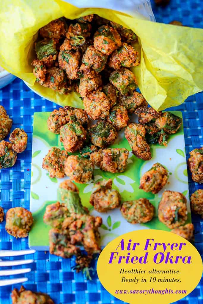 Crispy Air Fryer Fried Okra recipe that's easy to make and fried to a golden crispy texture. A healthier alternative to the traditional deep-fried version. One of the best okra recipes you would want to make. Air Fryer Fried Okra   Air Fryer Okra   Air Fried Okra   Fresh Okra   Air Fryer Frozen Okra   Fried Okra Recipe   Savory Thoughts   #airfryerfriedokra #airfryerokra #airfriedokra #freshokra #airfryerfrozenokra #friedokrarecipe