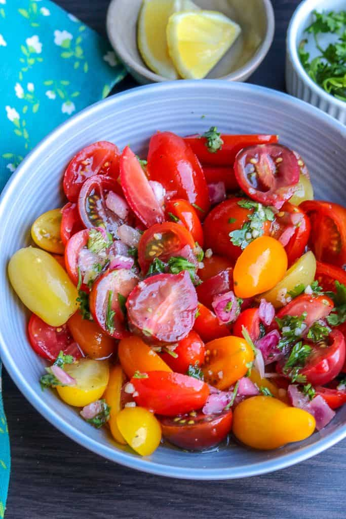gourmet medley marinated tomatoes for Haitian chicken tacos