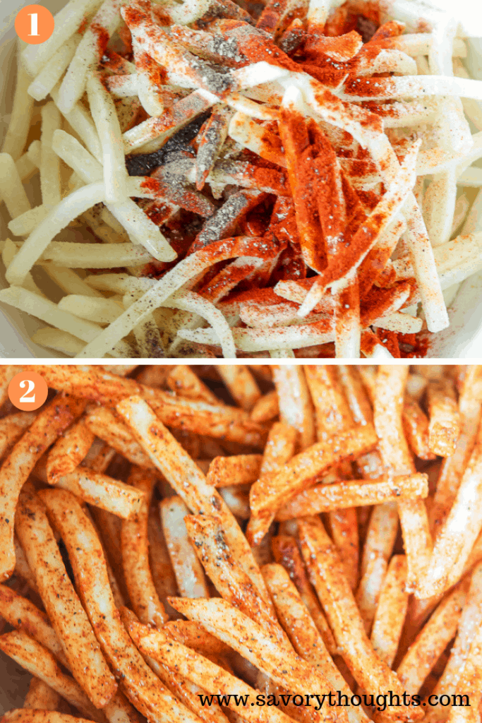 How to make shoestring fries in the air fryer. Step by Step photo guide
