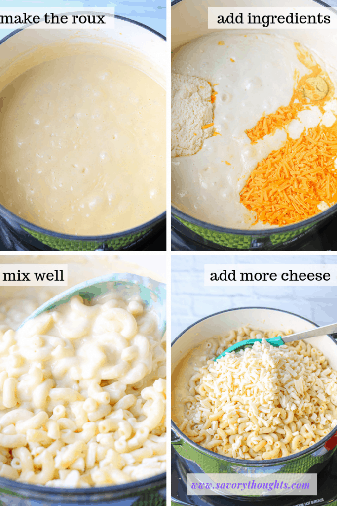 Step by step guide on how to make macaroni and cheese over the stove. #stovetopmacandcheese #bestmacandcheese