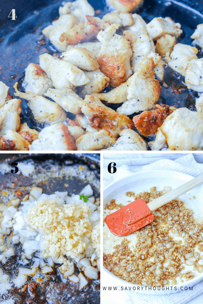 Photo guide showing golden cooked chicken, sautéed onions and garlic.