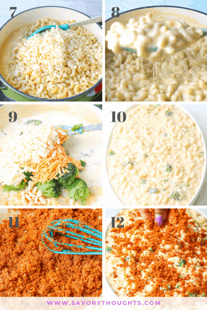 Ready to bake. Step by step photo guide to prepare Baked Mac And Cheese with Broccoli wonder that's prepared with a homemade cheese sauce, broccoli, and completed with a crunchy bread crumb topping! #bakedmacandcheese #withbreadcrumbs #homemade #best #cheesy #casserole #withbroccoli