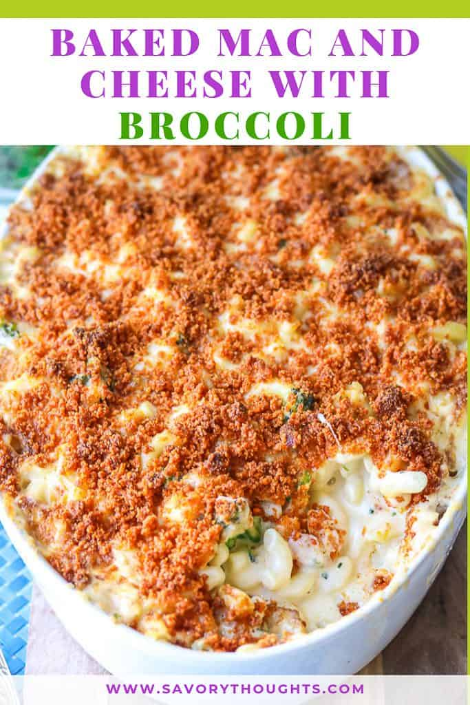 Baked Mac And Cheese with Broccoli wonder that's prepared with a homemade cheese sauce, broccoli, and completed with a crunchy bread crumb topping! #bakedmacandcheese #withbreadcrumbs #homemade #best #cheesy #casserole #withbroccoli