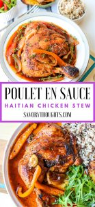 Learn how to make Poulet En Sauce (Authentic Haitian Chicken Stew). This poule en sauce recipe is full of amazing flavors. The meat is pan-seared, then simmered in a rich, dark stew sauce. A quick version that's made in a little over 30 minutes, but tastes like it's been simmering all day! Poulet En Sauce   Poul En Sauce   Haitian Chicken Stew   Authentic   Haitian Food   Savory Thoughts #pouletensauce #poulensauce #haitianchickenstew #haitianfood #haitianrecipes