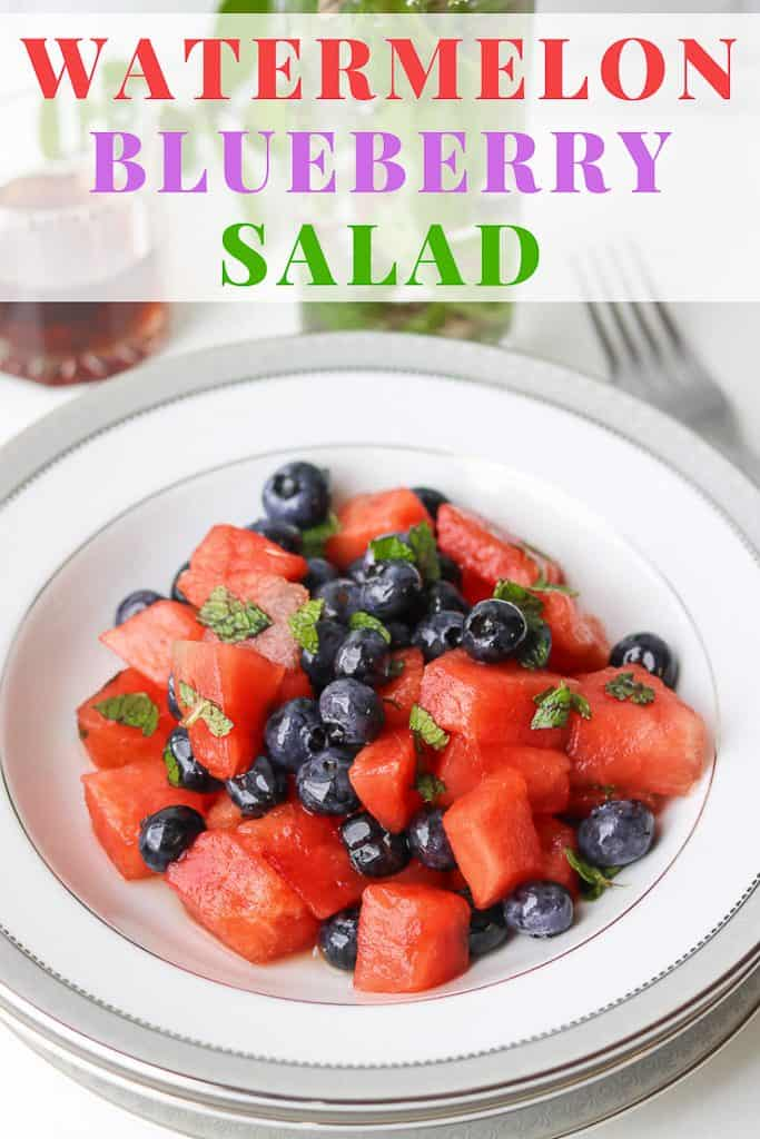 This sweet Watermelon Blueberry Salad combination is exactly what you need as a healthy snack on a light day. Cubed fresh watermelon tossed with blueberries, and maple syrup with fresh lemon juice. Then, topped with chopped mint leaves to create a light and refreshing side dish that will please your guests. #watermelonblueberrysalad #fancy #watermelonsaladwithmint #mint #Fruit #summer #watermelonsaladweightwatchers #watermelonsaladlime https://www.savorythoughts.com/watermelon-blueberry-salad/
