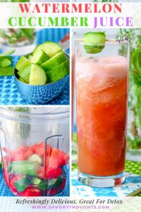 Cool down this summer with this Watermelon Cucumber Juice. It is light and refreshing. Great for body detox and contain only four ingredients. This drink is blended with fresh watermelon and cucumbers. This drink is all natural, and REFINED SUGAR-FREE. Cheers! Watermelon Cucumber Juice   Watermelon Cucumber Drink   Fresh Watermelon Juice   Fresh Cucumber Juice   Vitamix Drinks   Savory Thoughts #watermelon #cucumber #summer @watermeloncucumberjuice #limejuice #watermelonrecipe