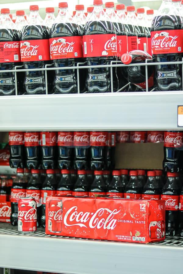 Coca-Cola bottles at Walmart shelves