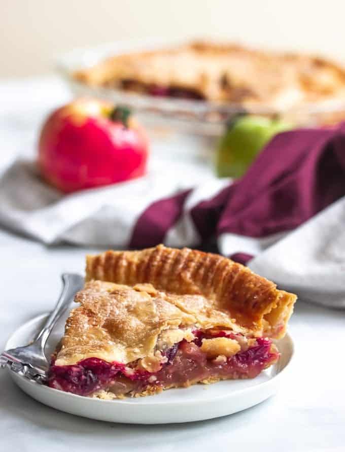 Cranberry Apple pie slice for holiday dessert.