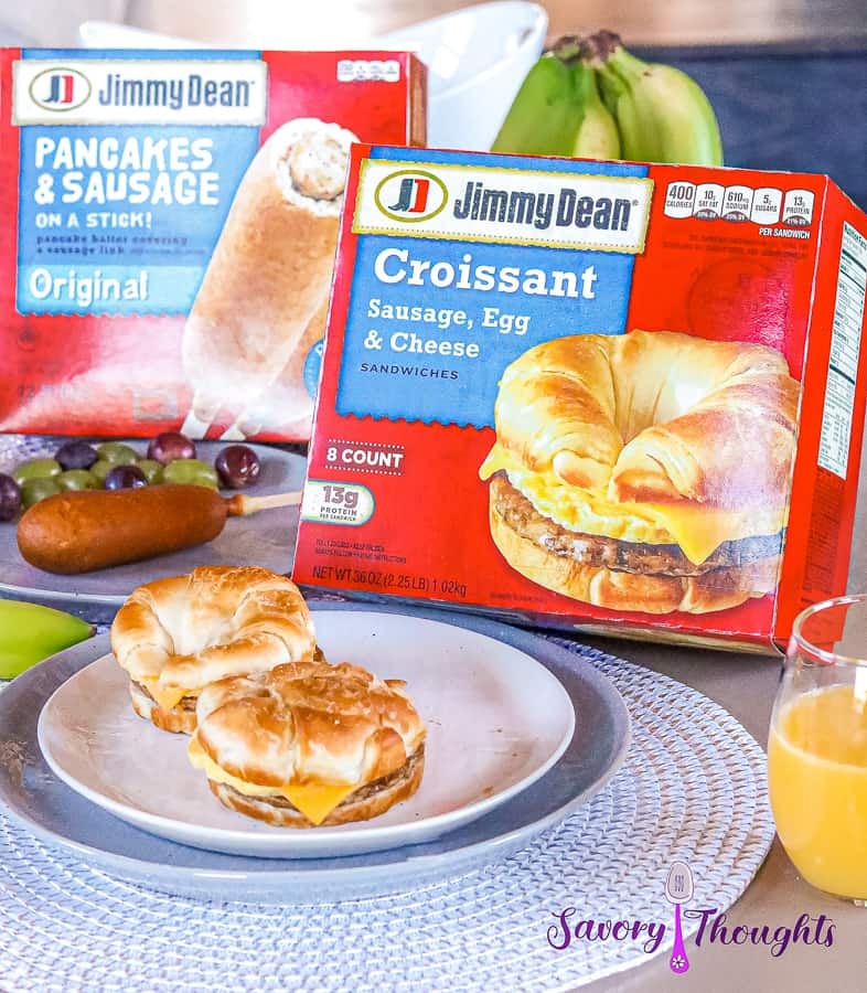 2 Jimmy Dean Croissant sandwiches on a white plate