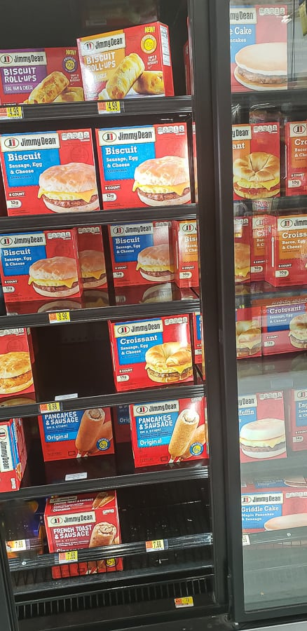 Jimmy Dean breakfast in Walmart Freezer section