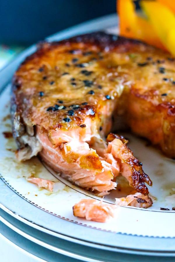 Cooked salmon steak