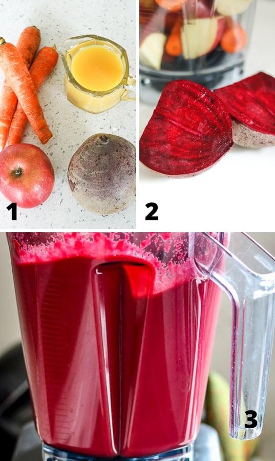 Beetroot juice ingredients in vitamix blender