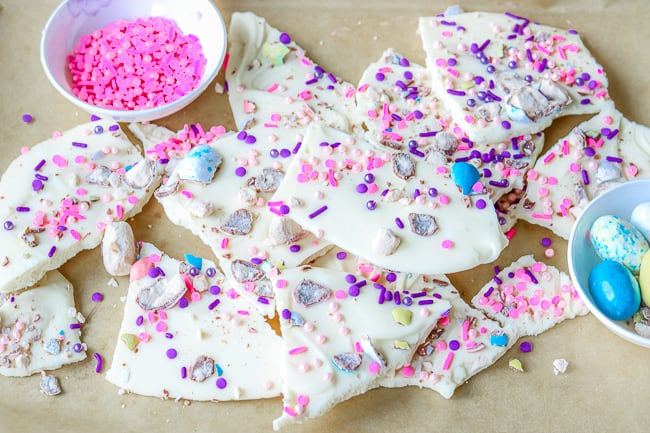 Broken WHITE CHOCOLATE EASTER BARK on Parchment Paper