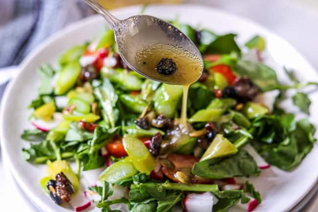Cranberry Vinaigrette drizzled on asparagus salad