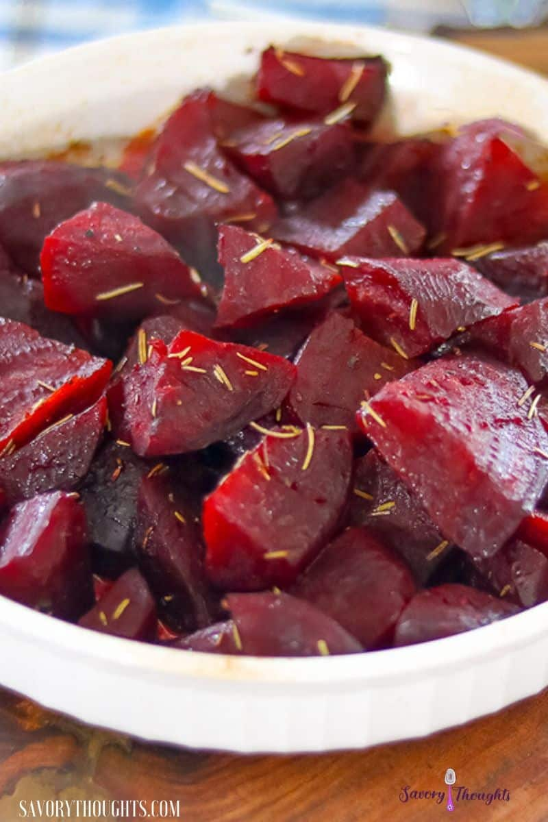 Oven roasted beets in white plate