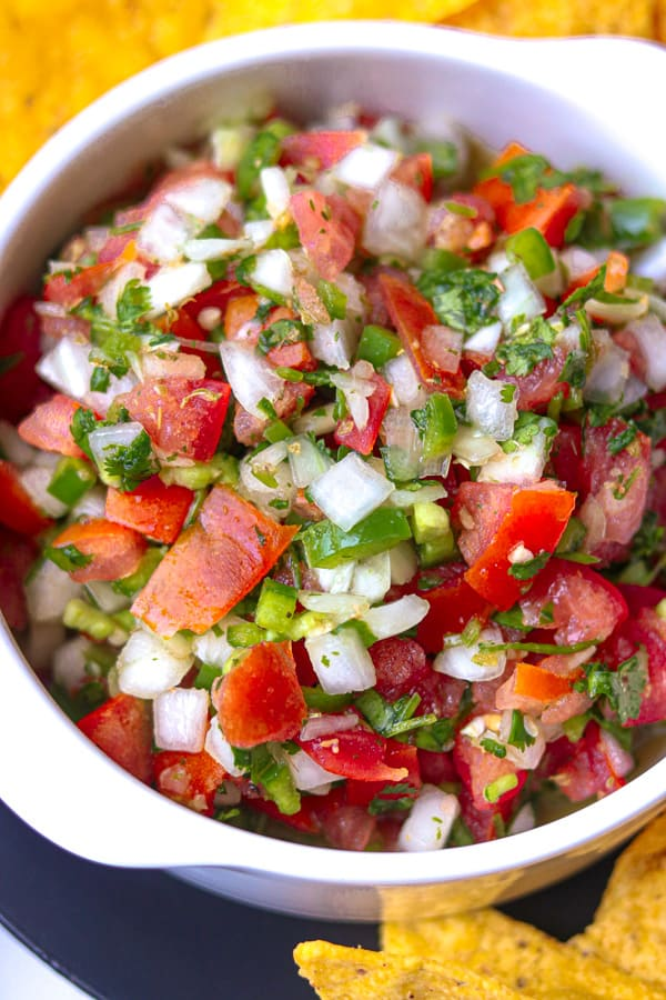 Homemade Mexican salsa in white bowl