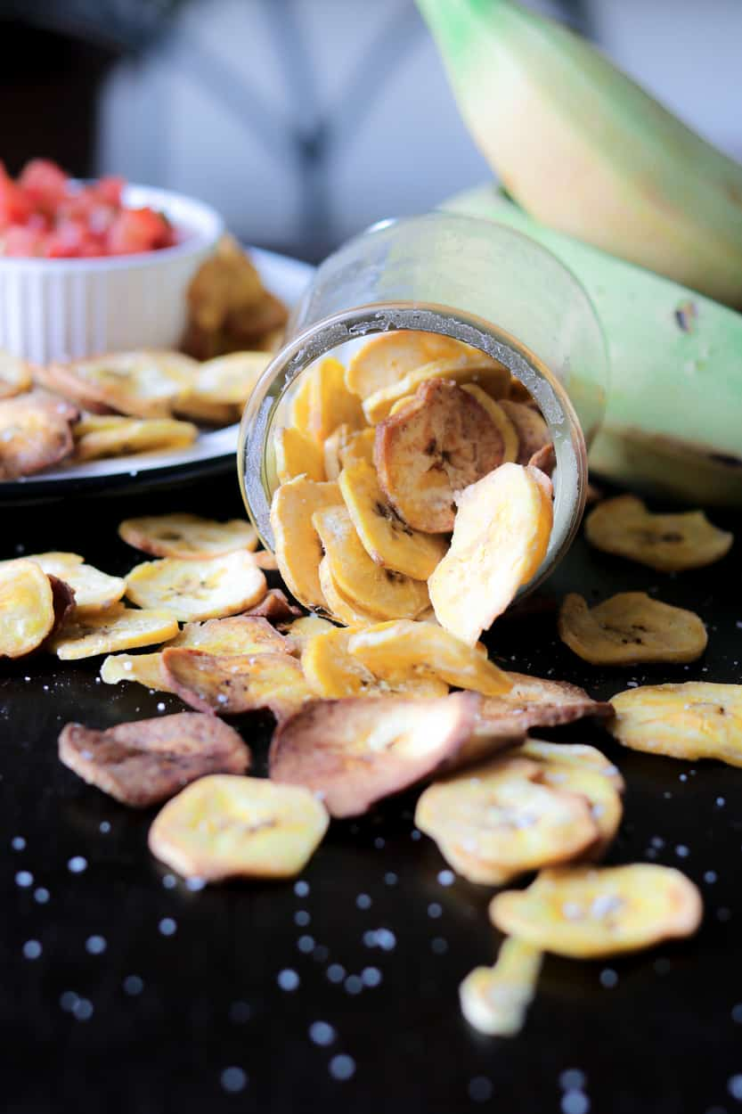 Plantain chips on black board