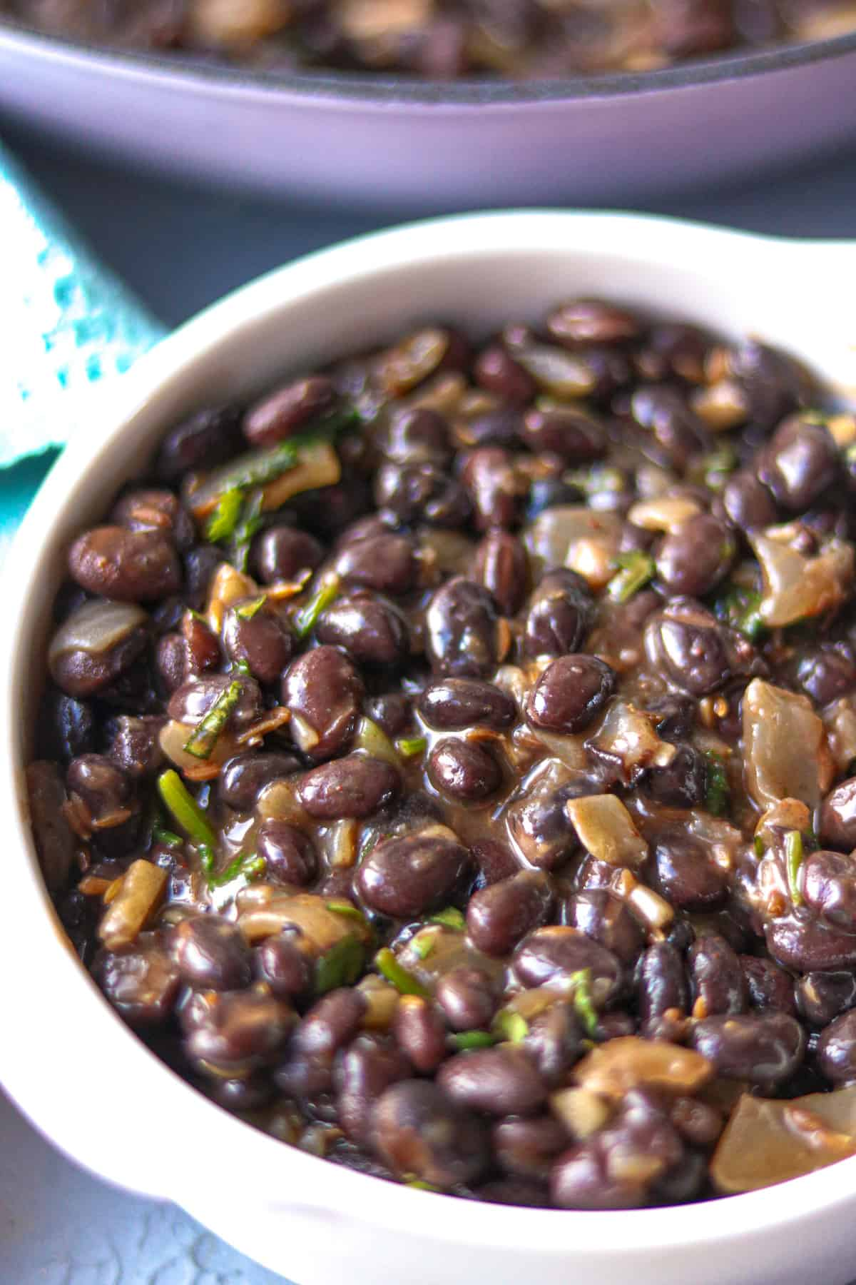 Mexican Black Beans in white bowl