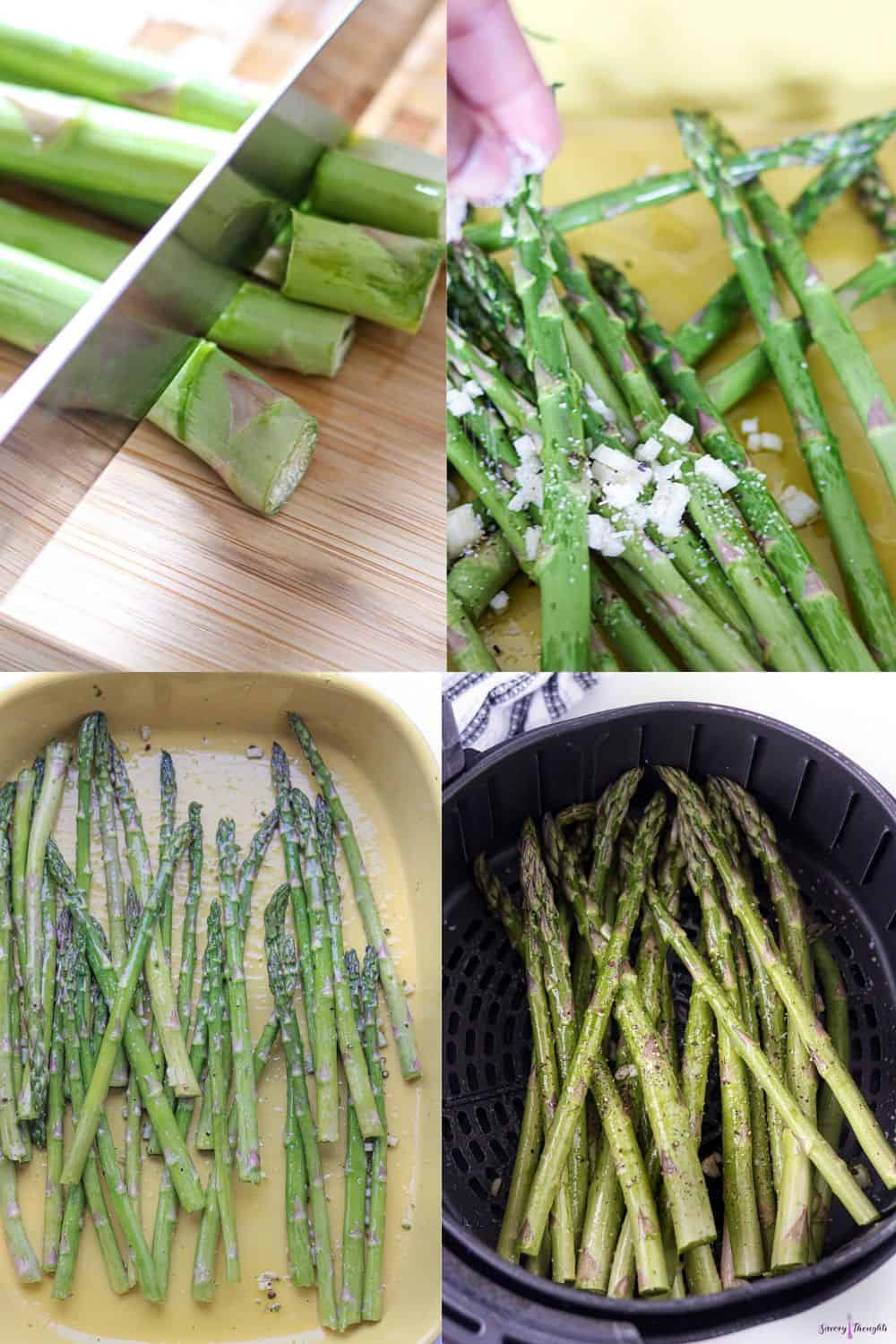 Step by step photo guide to cooking asparagus in the air fryer