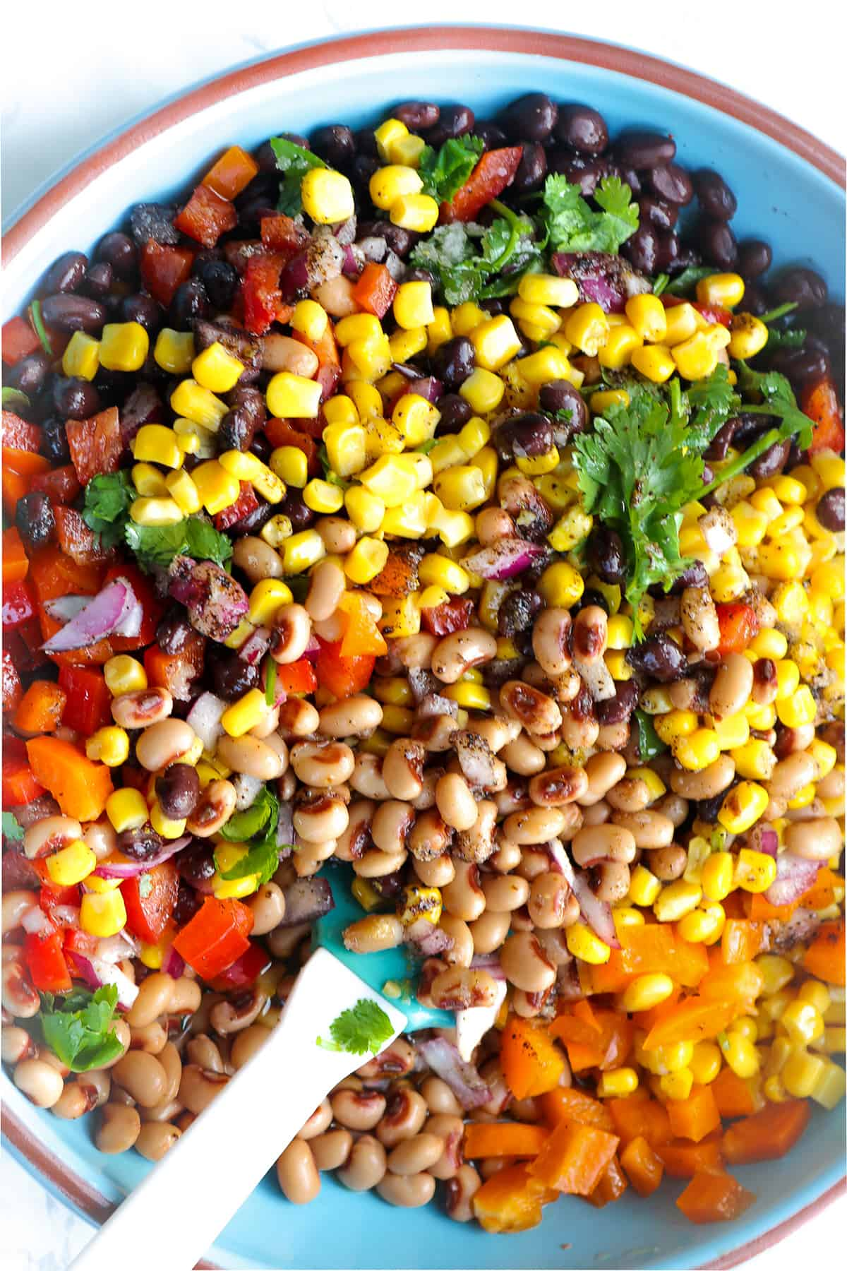 Cowboy Caviar ingredients in large bowl