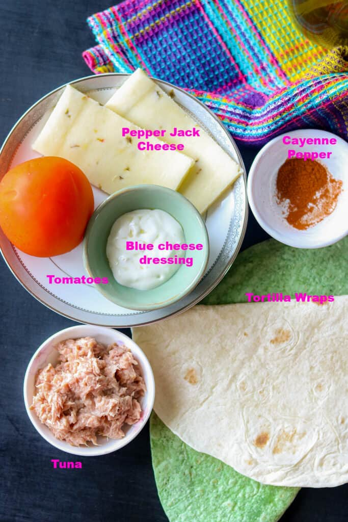List of Ingredients to make wraps