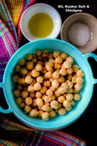 List of ingredients to making chickpeas in the air fryer