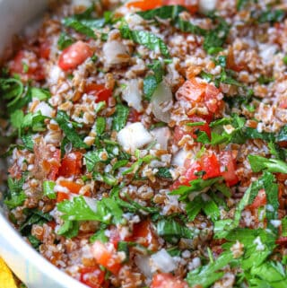 Tabbouleh recipe in white bowl