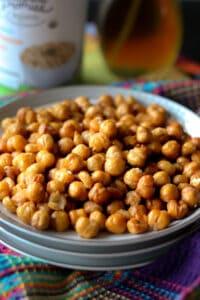 vegan roasted chickpeas on white plate