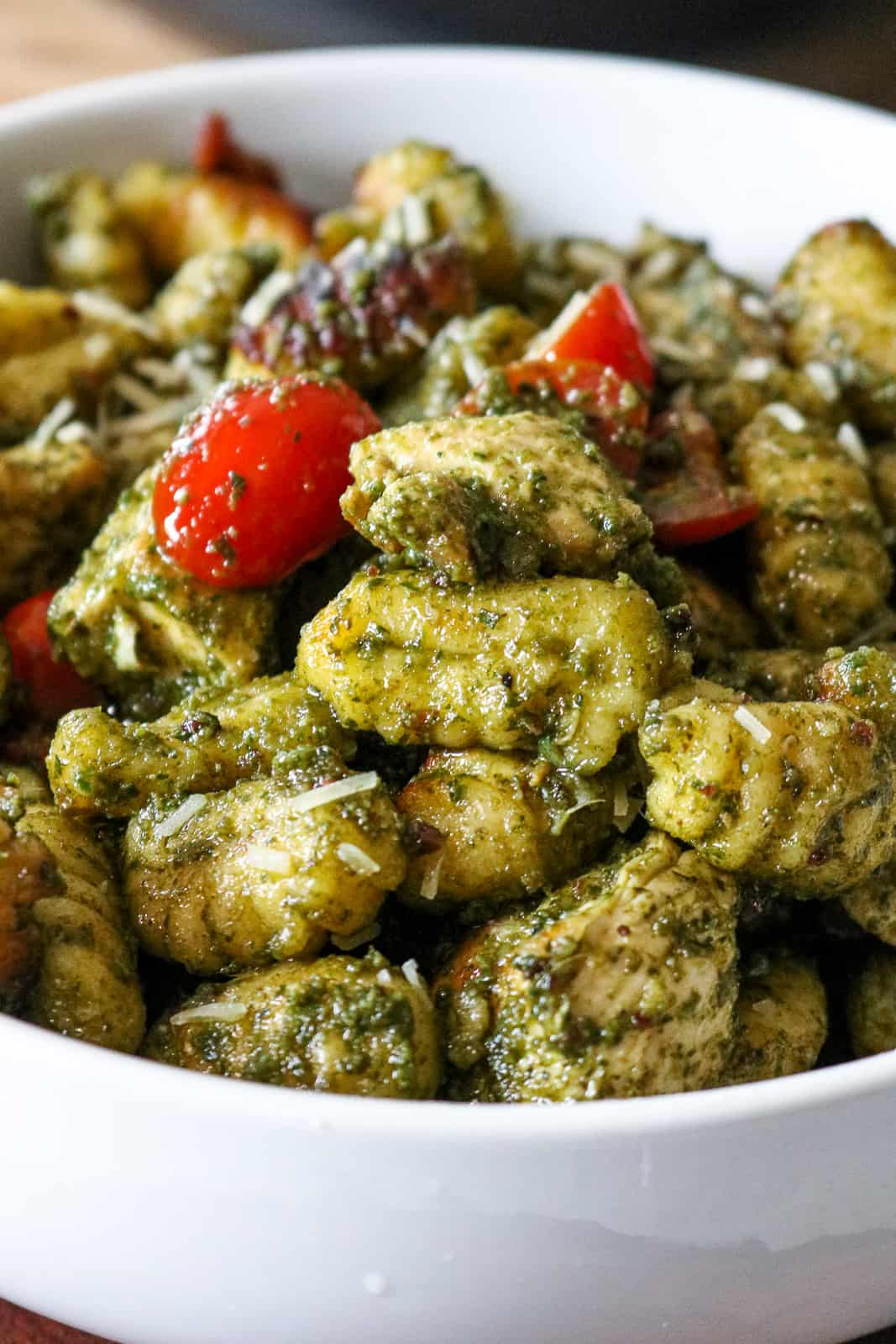 Chicken Pesto Gnocchi in white plate